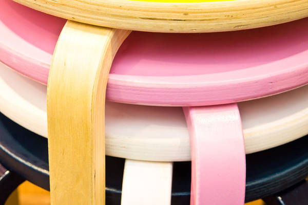 Rustic Furniture Photograph - Colorful Stools by Tom Gowanlock