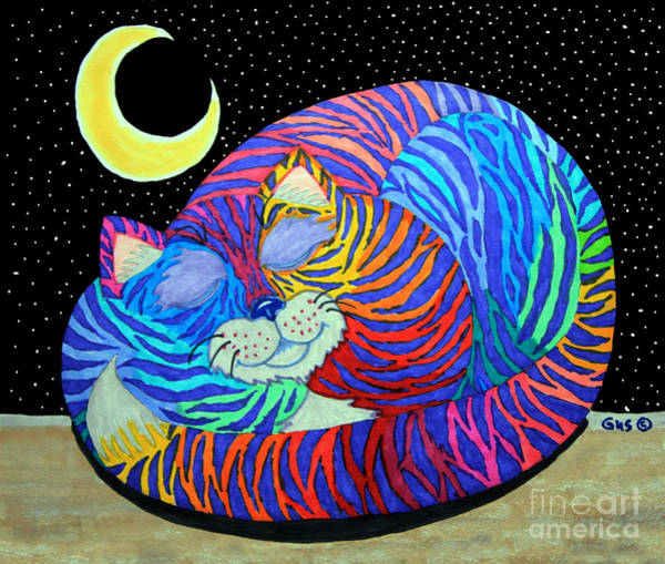 Magical Drawing - Colorful Striped Cat In The Moonlight by Nick Gustafson