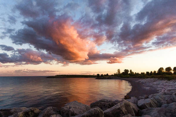Digital Art - Colorful Summer Sunset - Lake Ontario Impressions by Georgia Mizuleva