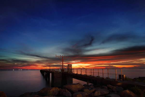 Hongkong Photograph - Colorful Sunset At Hong Kong Airport by Afrison Ma