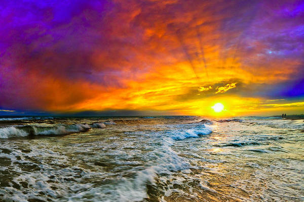 Destin Photograph - Colorful Sunset In Destin Beach Florida With Red Clouds by eSzra
