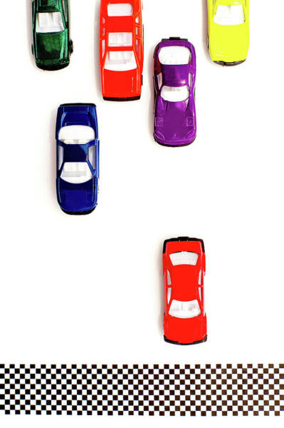 Vertical Line Wall Art - Photograph - Colorful Toy Cars Racing To The Finish by Melissa Ross