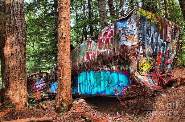 Photograph - Colorful Train Wreck In British Columbia by Adam Jewell