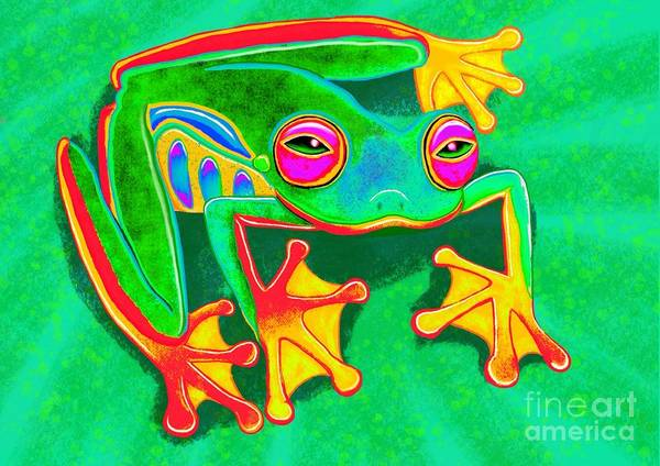 Wall Art - Painting - Colorful Tree Frog by Nick Gustafson