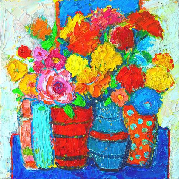 Wall Art - Painting - Colorful Vases And Flowers - Abstract Expressionist Painting by Ana Maria Edulescu