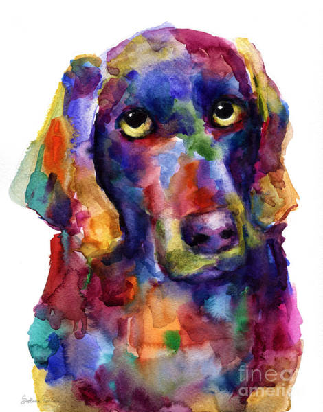 Colorful Weimaraner Dog Art Painted Portrait Painting Art Print