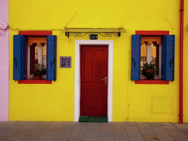 Photograph - Colorful Windows And Door On Yellow by Dennis Walton