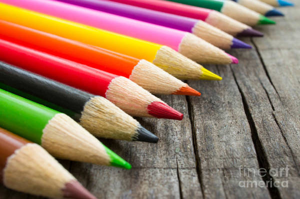 Pencil Drawing Photograph - Colorful Wooden Pencil by Aged Pixel