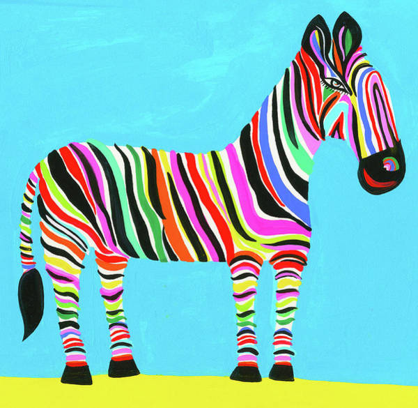 Horizontal Stripes Digital Art - Colorful Zebra With Multicolored Stripes by Christopher Corr