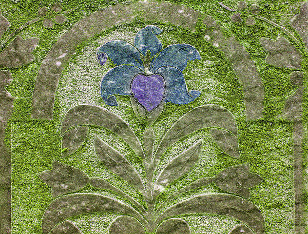 Photograph - Colorized Moss Covered Gravestone  by Jean Noren