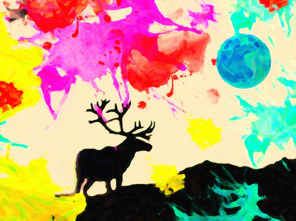 Alpine Meadow Painting - Colors And The Elk by Celestial Images