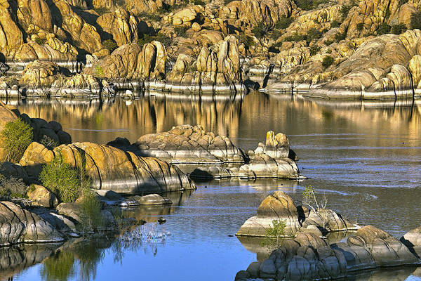 Powerboat Photograph - Colors In The Rocks At Watsons Lake Arizona by James Steele