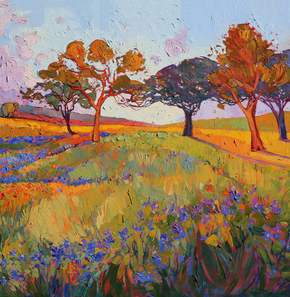 Wall Art - Painting - Colors Of Brenham Triptych - Center Panel by Erin Hanson