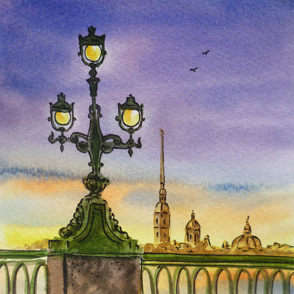 Street Scape Painting - Colors Of Russia Bridge Light In Saint Petersburg by Irina Sztukowski