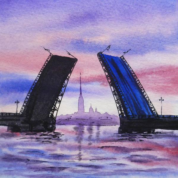 Street Scape Painting - Colors Of Russia Bridges Of Saint Petersburg by Irina Sztukowski