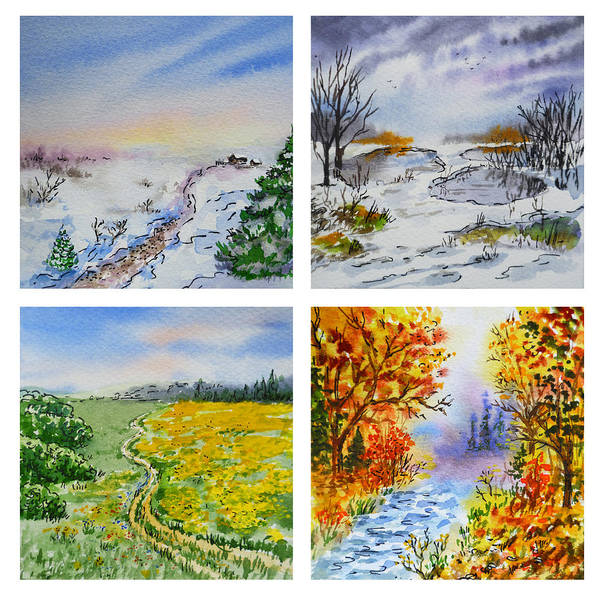 Painting - Colors Of Russia Four Seasons by Irina Sztukowski