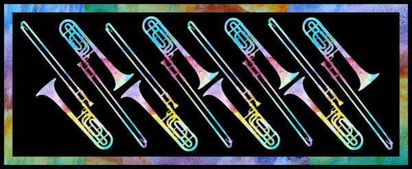 Trombone Wall Art - Painting - Colorwashed Trombones by Jenny Armitage