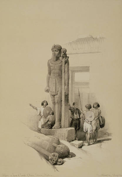 Male Figure Drawing - Colossus In Front Of The Temple Of Wady Sabona, Ethiopia  by David Roberts