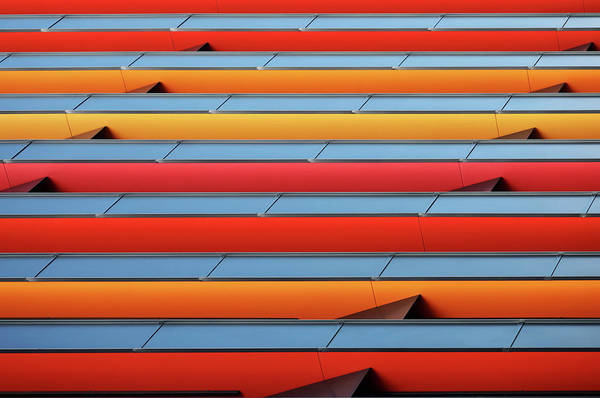 Facade Photograph - Colour Stripes by Hans-wolfgang Hawerkamp