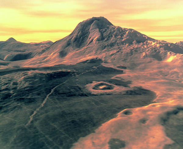 Wall Art - Photograph - Coloured 3d Perspective View Of Maat Mons by David P.anderson, Smu/ Nasa/ Science Photo Library