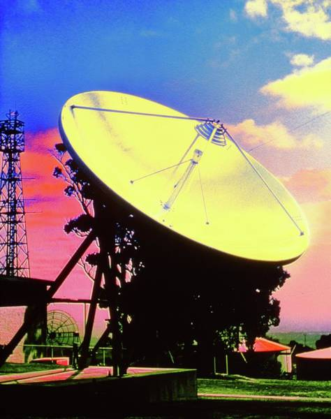 Satellite Receiver Photograph - Coloured Photo Of A Satellite Dish by Dr Jeremy Burgess/science Photo Library