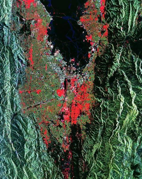 Silicon Valley Wall Art - Photograph - Coloured Radar Image Of San Jose by Nasa/science Photo Library