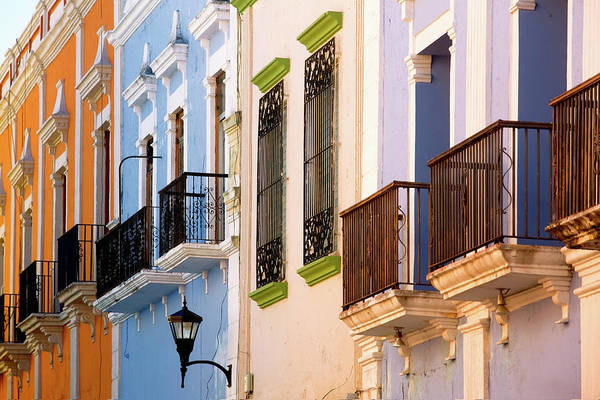 Campeche Photograph - Colourful Facades Of Buildings On by Jean-pierre Lescourret