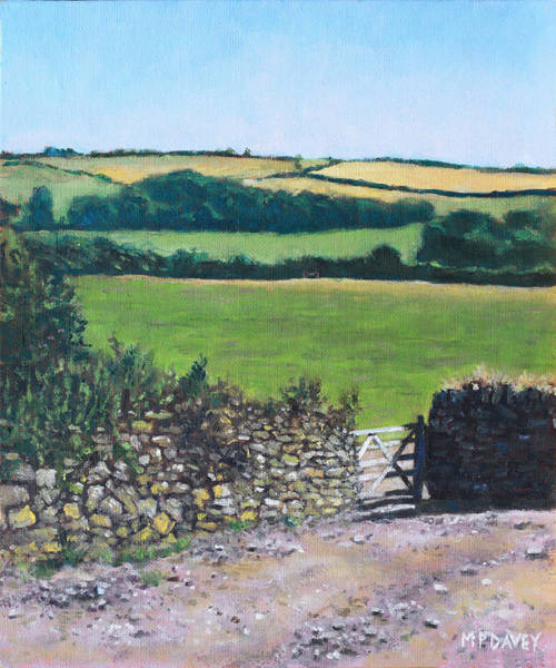 Painting - Colourful Fields On A Farm In Devon Uk by Martin Davey