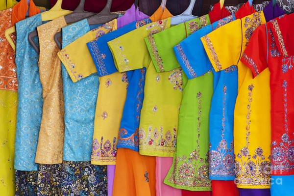 Blue Dress Photograph - Colourful Girls Dresses In India by Tim Gainey