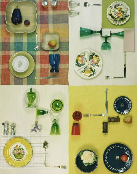 Table Setting Photograph - Colourful Table Settings by Herbert Matter