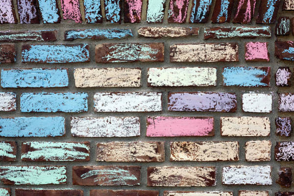 Brick Wall Photograph - Colourfully Chalked Brick Wall by Snap Decision