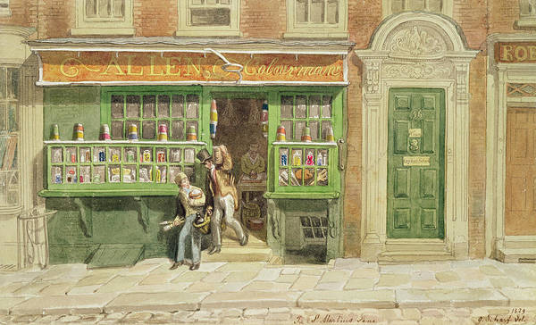 Keeper Photograph - Colourmans Shop, St Martins Lane, 1829 Wc On Paper by George the Elder Scharf