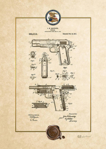 C7 Wall Art - Digital Art - Colt 1911 By John M. Browning - Vintage Patent Document by Serge Averbukh