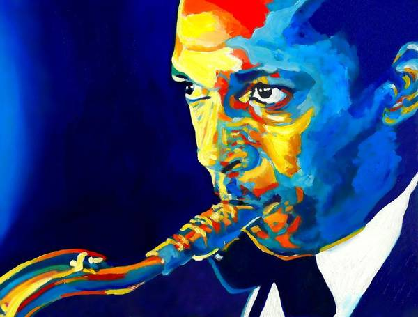 Bop Wall Art - Painting - Coltrane-blu by Vel Verrept