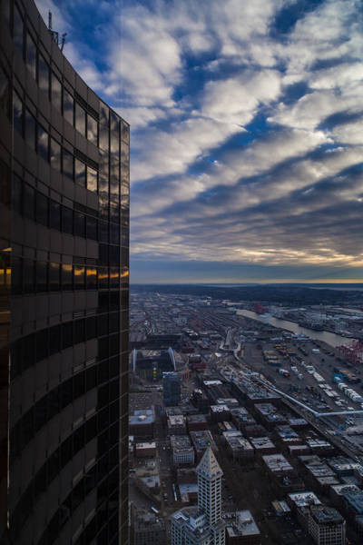 Space Needle Wall Art - Photograph - Columbia Center Skies Reflected by Mike Reid