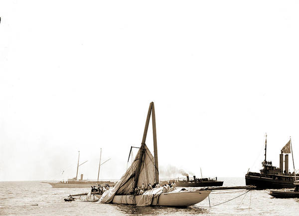 Steel Drawing - Columbia, Steel Mast Carried Away, Columbia Sloop by Litz Collection