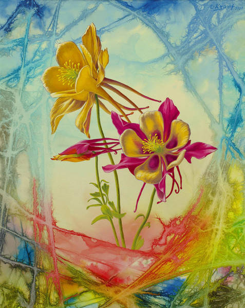 Wall Art - Painting - 'columbine In Abstract 02'        by Paul Krapf