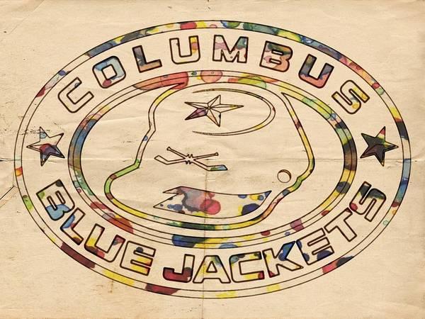 Painting - Columbus Blue Jackets Vintage Art by Florian Rodarte