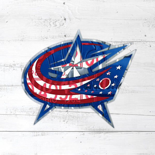 Wall Art - Mixed Media - Columbus Bluejackets Retro Hockey Team Logo Recycled Ohio License Plate Art by Design Turnpike