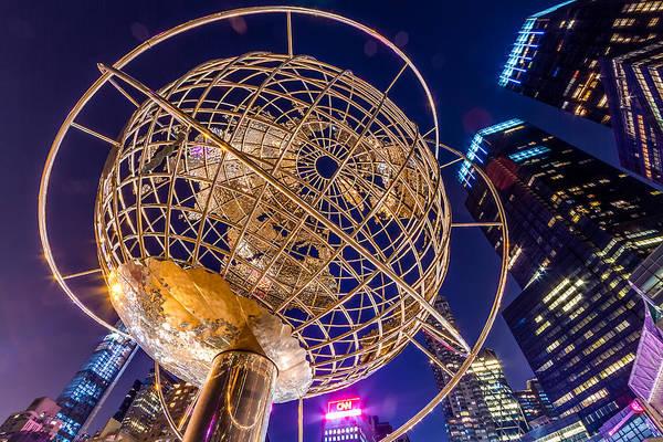 Photograph - Columbus Circle Globe At Night by Val Black Russian Tourchin