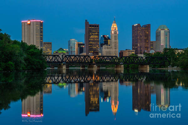 Columbus Ohio Night Skyline Photo Art Print