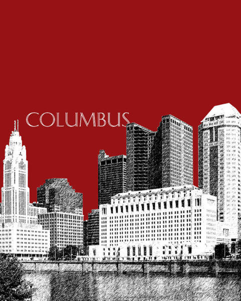 Wall Art - Digital Art - Columbus Skyline - Dark Red by DB Artist