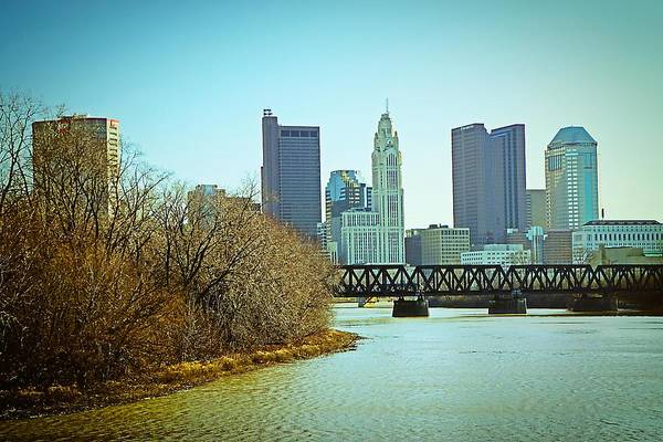 Photograph - Columbus Skyline Winter by Beth Akerman