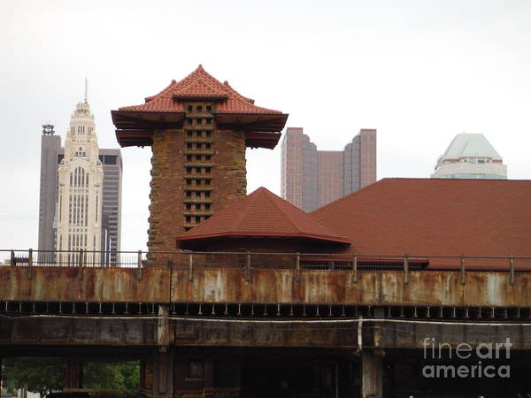Central Fire Station Photograph - Columbus Train Station And Train Bridge by Paddy Shaffer