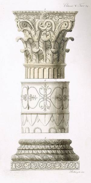 Structure Drawing - Column And Capital by English School