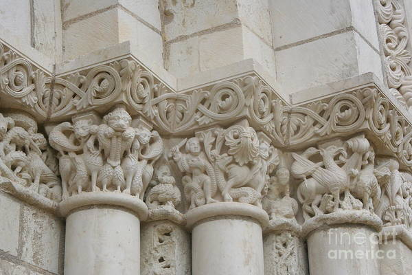 Fontevraud Photograph - Column Relief Abbey Fontevraud  by Christiane Schulze Art And Photography
