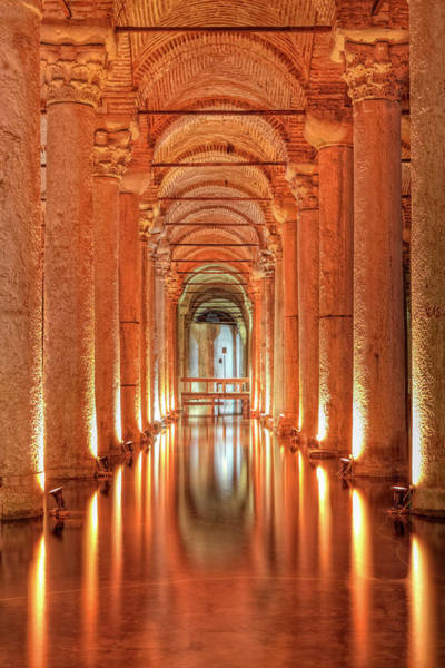 Basilica Cistern Photograph - Column Supporting Roof In Basilica by George Tsafos