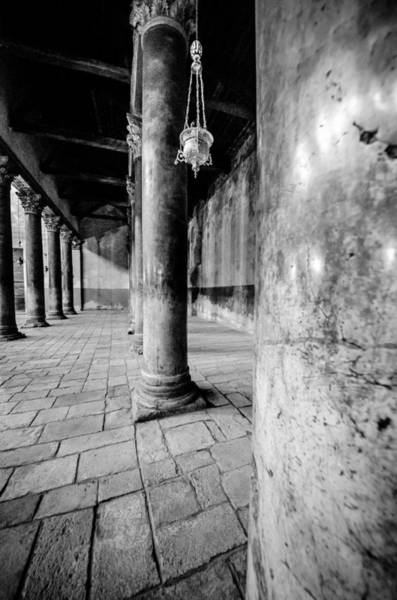 Wall Art - Photograph - Columns At The Church Of Nativity Black And White Vertical by David Morefield
