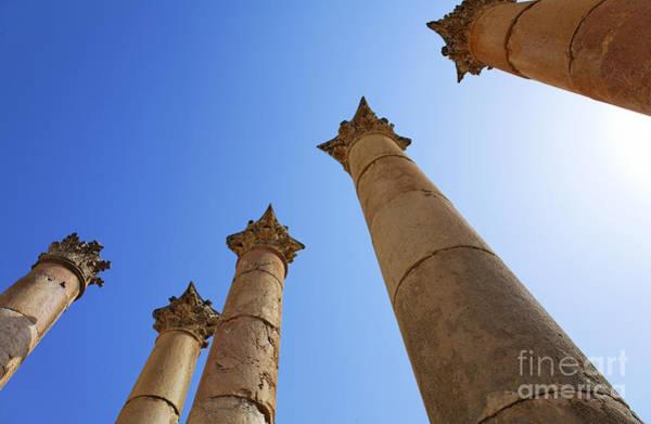 Artemis Photograph - Columns At The Temple Of Artemis At Jerash Jordan by Robert Preston
