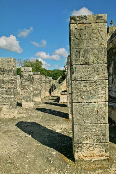 Chichen Itza Photograph - Columns With Carved Stonework by Panoramic Images